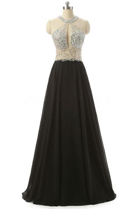 Elegant cheap black chiffon sequins long formal dress, plus size senior prom dresses