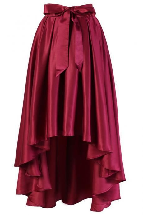 Burgundy Satin High-Low Skirt with Front Bow