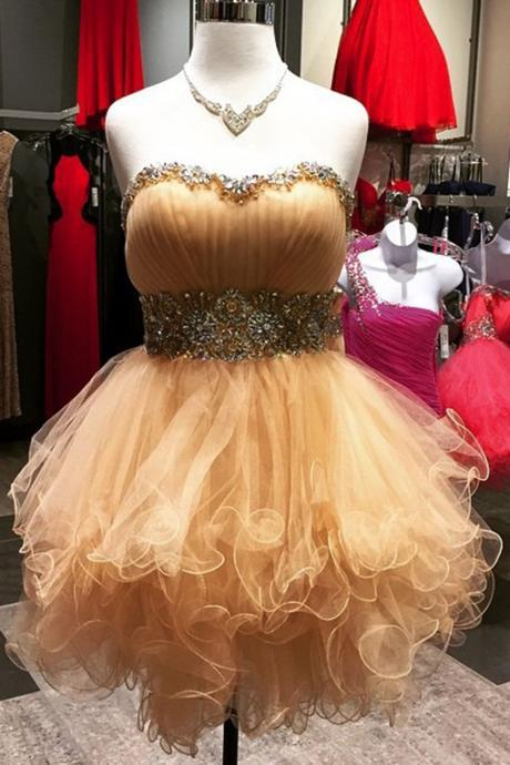 Champagne organza sweetheart beading short dress,strapless cute dress