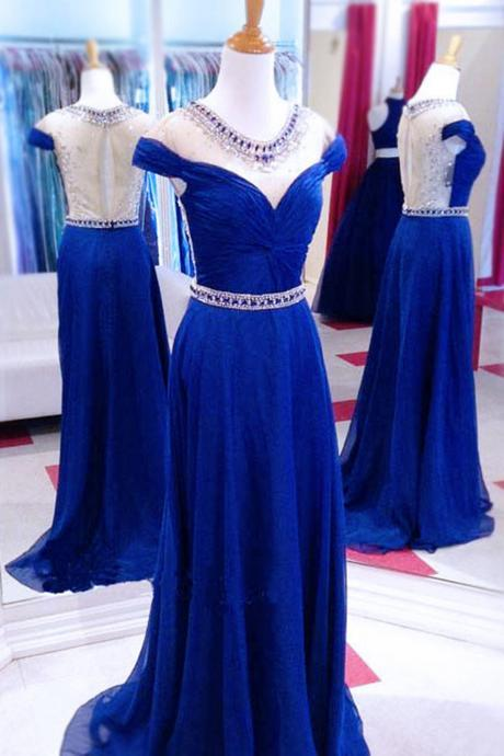 Navy blue chiffon round neck cap sleeves see-through beading long dress