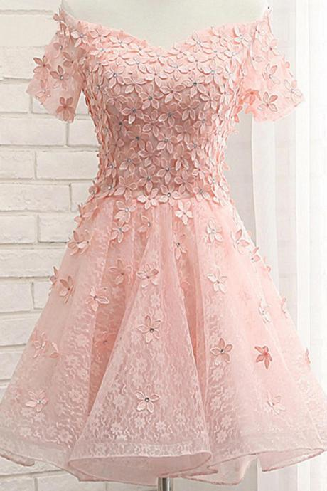 Pink tulle lace off shoulder short sleeve homecoming dress with applique,party dress